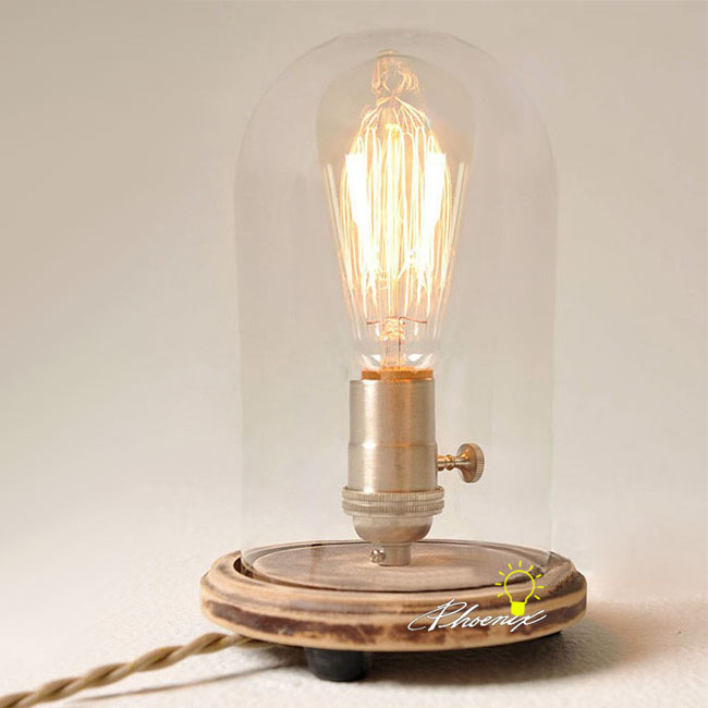 Antique Edison Clear Glass Table Lamp 8220