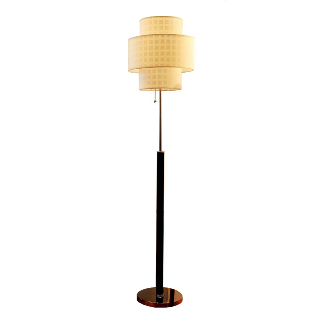 2 layers Fabric Shape And Black Leather Floor Lamp 7816