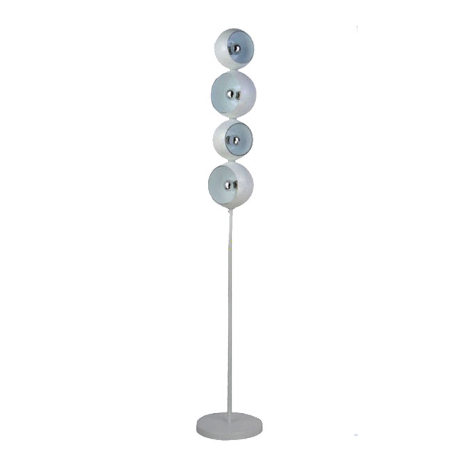 4 Depolished Glass Shades Floor Lamp in Chrome Finish 8324