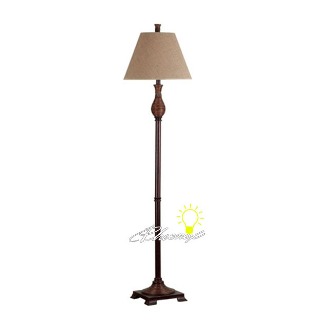 Antique Country Fabric Shades Floor Lamp in Painted Finish 8599