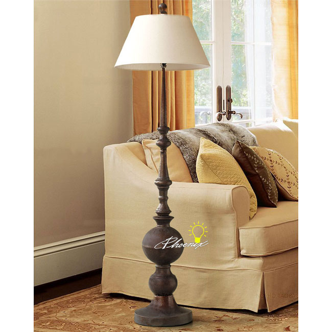 Antique Chrill Metal And Fabric Floor Lamp 8796