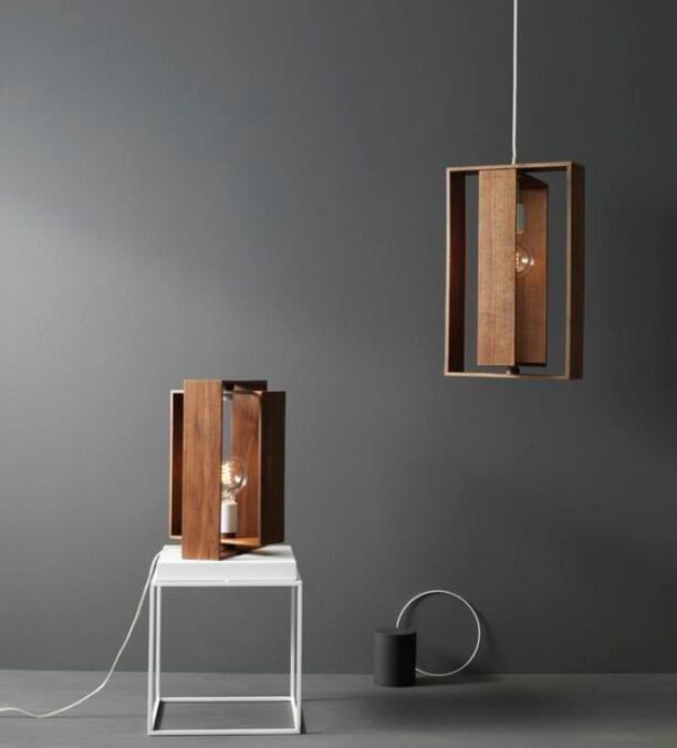 Wood Frame Pendant/Table Lamp 13501
