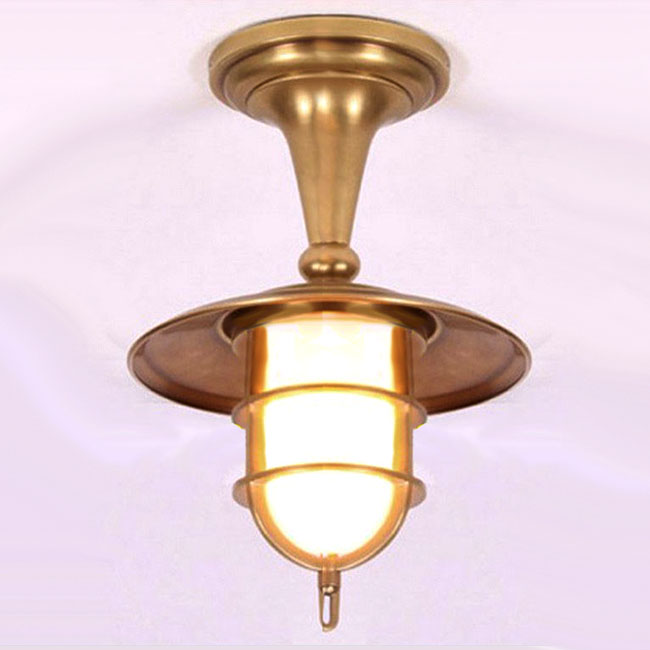 Antique Complete Copper and Glass Recessed Lighting 9423