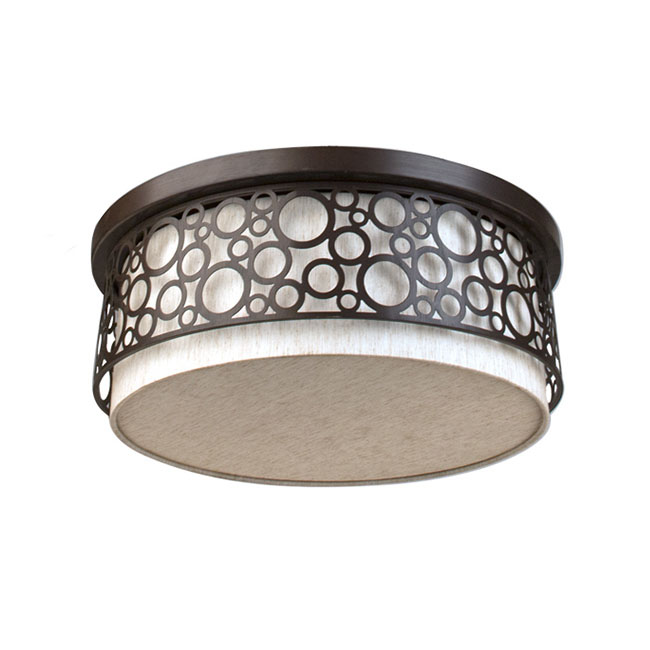 Country Iron and Flax Fabric Recessed Lighting in Baking Finish