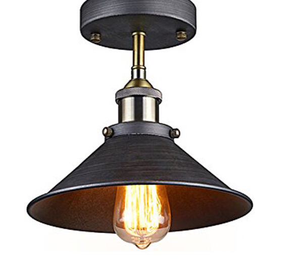 Antique Industrial Edison Semi Flush Ceiling Lamp Vintage Mini P