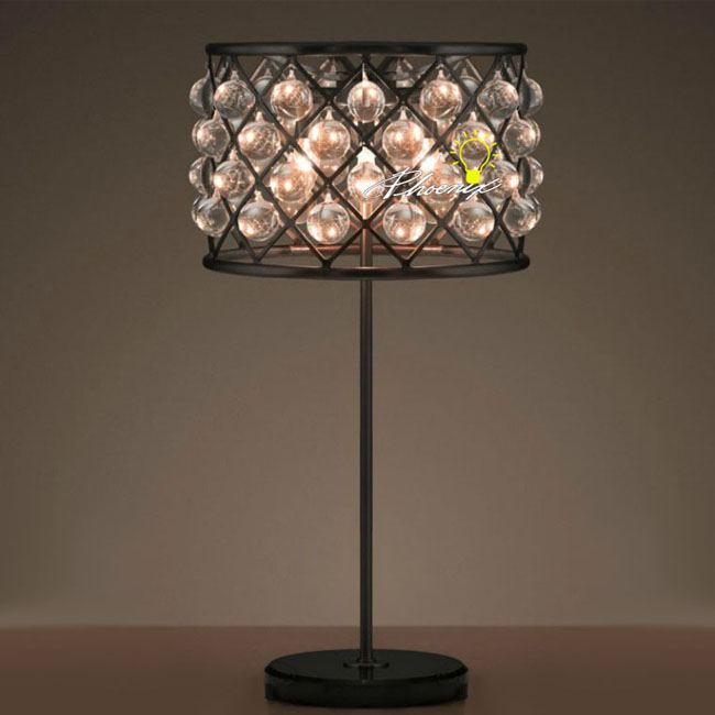 Antique Crystal and Iron Art Table Lamp in Baking Finish 8490