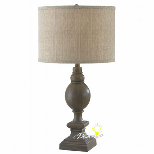 Antique Linen Fabric Shade Table Lamp in Painted Finish 8614