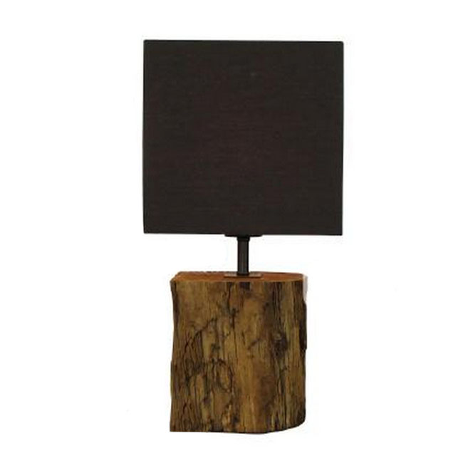 Antique Stump and Flax Shade Table Lamp 10769