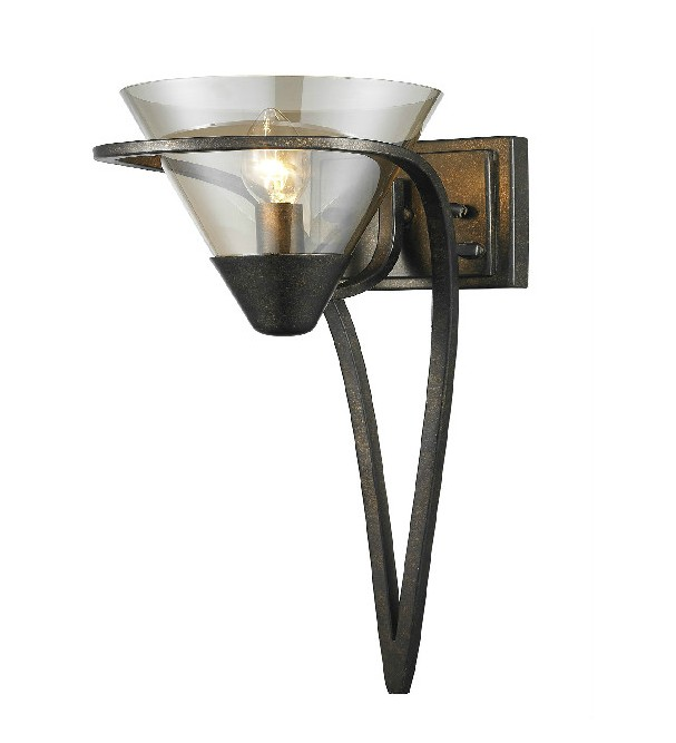 Antique Bronze Glass and Iron Art Wall Sconce 10519
