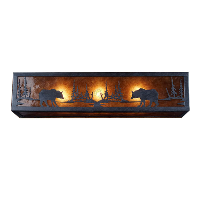 Antioque Bears in Forest Wall Sconce 11934